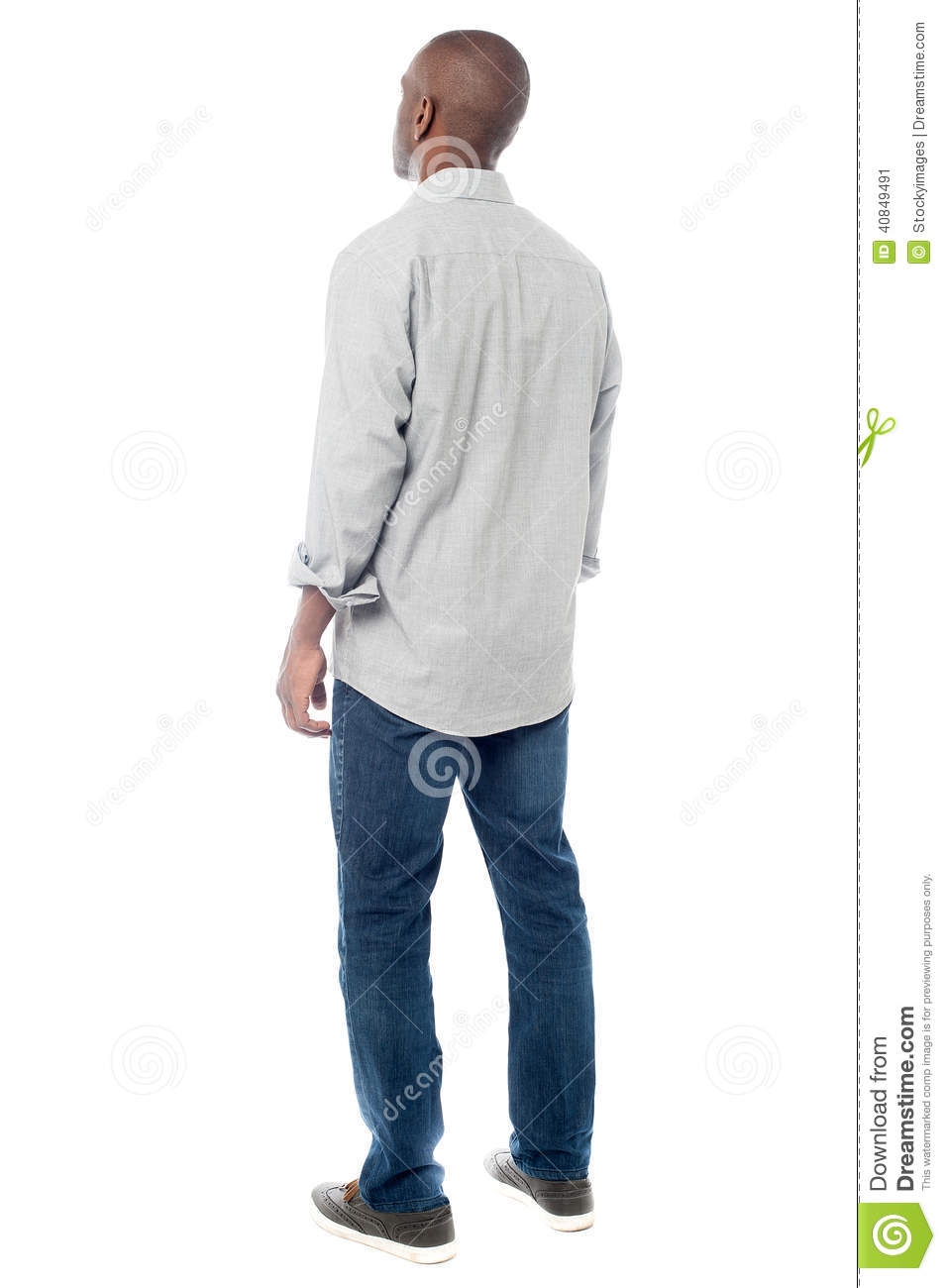back-view-handsome-man-looking-up-rear-young-african-isolated-white-40849491